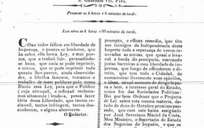 <strong>25 de maio de 1827</strong><br> Edição dedicada à defesa da lei que regulava a liberdade de imprensa.