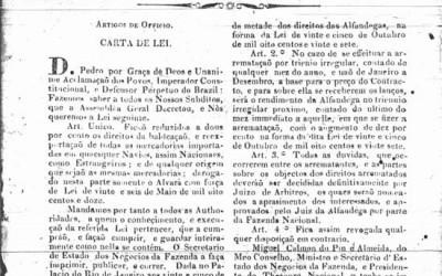 <strong>24 de dezembro de 1828</strong><br> Decreto da modernização portuária para se livrar de estrutura da era colonial.