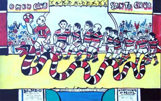 """Quadro do Santa Cruz pintado por Bajado, """"um artista de Olinda"""""""