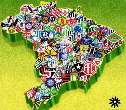 Escudos de times brasileiros sobre o mapa do Brasil