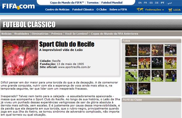 Sport no site da Fifa