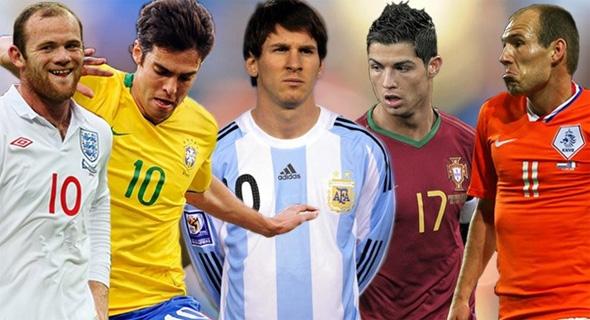 Rooney, Kaká, Messi, Cristiano Ronaldo e Robben