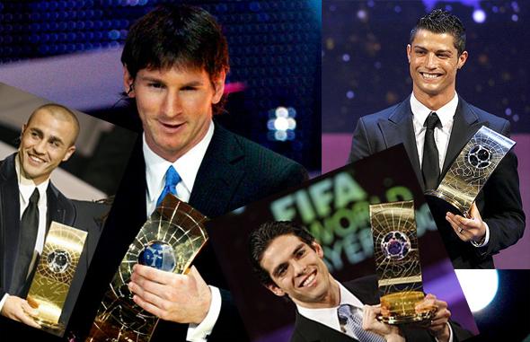 Melhores do mundo: Cannavaro (2006), Messi (2009), Kaká (2007) e  Cristiano Ronaldo (2008)