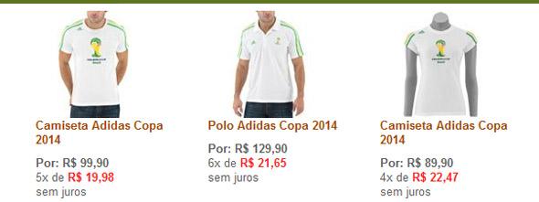 Camisas oficiais da Copa do Mundo de 2014: masculino, polo e feminino