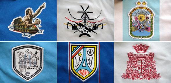 Escudos feitos por ilustradores: Itália, Alemanha, Argentina (topo); Uruguai, França e Inglaterra (embaixo)
