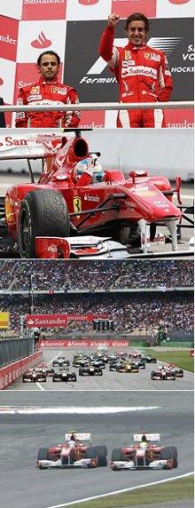 Fórmula 1-2010: Alonso ganha GP da Alemanha após marmaleda da Ferrari, com Massa. Foto: F1/divulgação