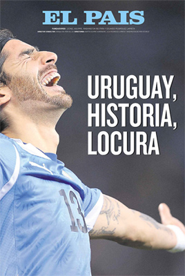 Capa do El Pais, do Uruguai (03-07-10). Celeste na semifinal