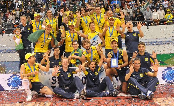 Vôlei: Brasil campeão da Liga Mundial de 2010 ao vencer a Rússia por 3 sets a 1. Foto: FIVB/divulgação