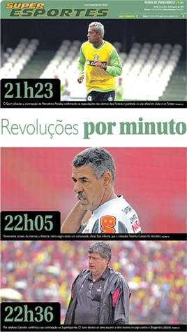Diario de Pernambuco: 10/08/2010. Capa do caderno de esportes