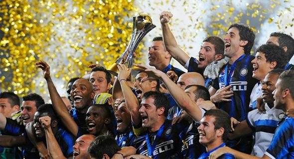 Jogadores da Internazionale festejam o título mundial de 2010. Foto: Fifa/divulgação