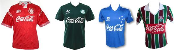 Alguns dos clubes patrocinados pela Coca-Cola na década de 1980
