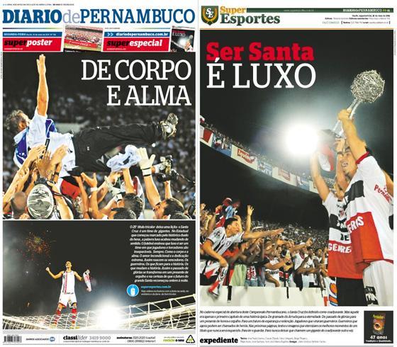 As capas do Diario de Pernambuco e do caderno Superesportes com o título estadual do Santa Cruz em 2011