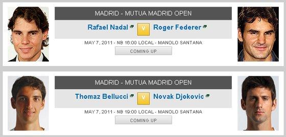 Semifinais do Master 1000 de Madri 2011. Imagem: ATP/divulgação