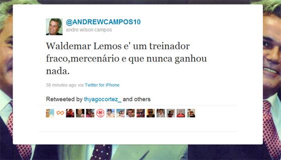 André Campos comenta contratação de Waldemar Lemos no Twitter