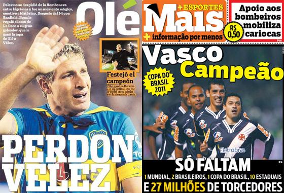 Jornais Olé (13/06/2011), de Buenos Aires, e Mais (09/06/2011), do Rio de Janeiro