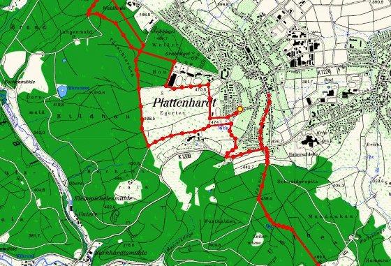 Mapa de Plattenhardt, na Alemanha