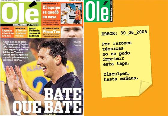 Capas do Olé de 29/09/2011 e 30/06/2005