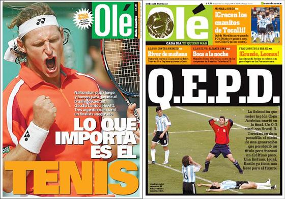 Capas do Olé de 03/06/2004 e 16/07/2007
