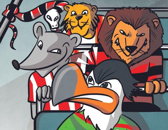 Carcará, Timbu, Leão, Fera Sertaneja e Cobra Coral, mascotes na briga pelo G4. Arte: Silvino/Diario de Pernambuco