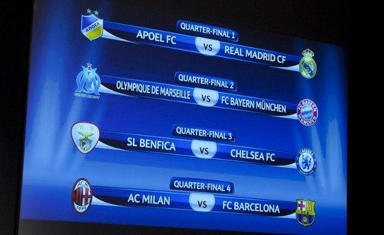 Quartas de final da Liga dos Campeões da Uefa de 2012. Foto: Uefa/divulgação