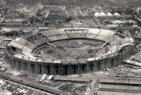 Construção do Maracanã para a Copa do Mundo de 1950. Foto: Arquivo Geral da Cidade do Rio de Janeiro