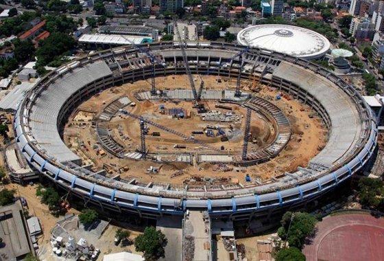 Construção do Maracanã para a Copa do Mundo de 2014. Foto: Odebrecht/divulgação