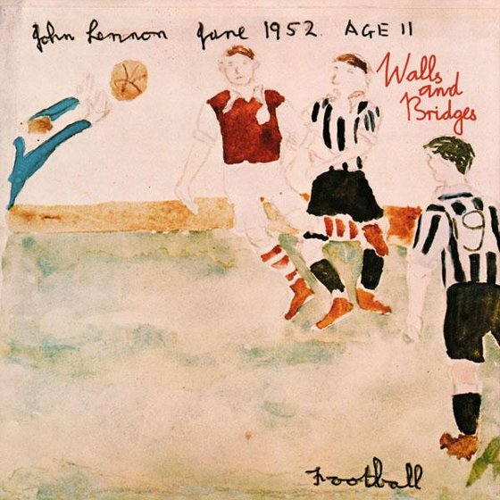 Desenho de John Lennon aos 11 anos de idade, sobre a final da Copa da Inglaterra de 1952