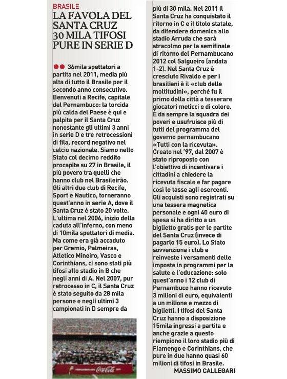 Matéria sobre o Santa Cruz no jornal La Gazetta dello Sport