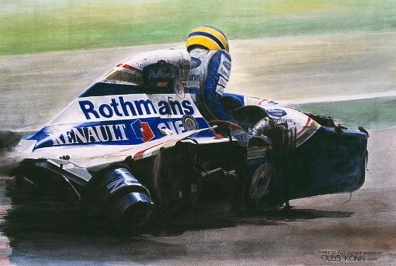 Pintura de Ayrton Senna. Imagem: Oleg Konin/divulgação