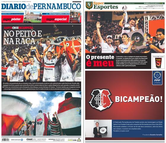 As capas do Diario de Pernambuco e do caderno Superesportes com o título estadual do Santa Cruz em 2012