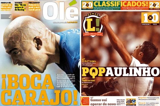 Capas do Olé e do Lance! em 24 de maio de 2012