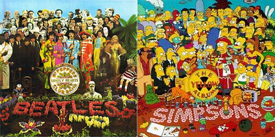 Capa de Sgt. Pepper's, dos Beatles, a e homenagem dos Simpsons