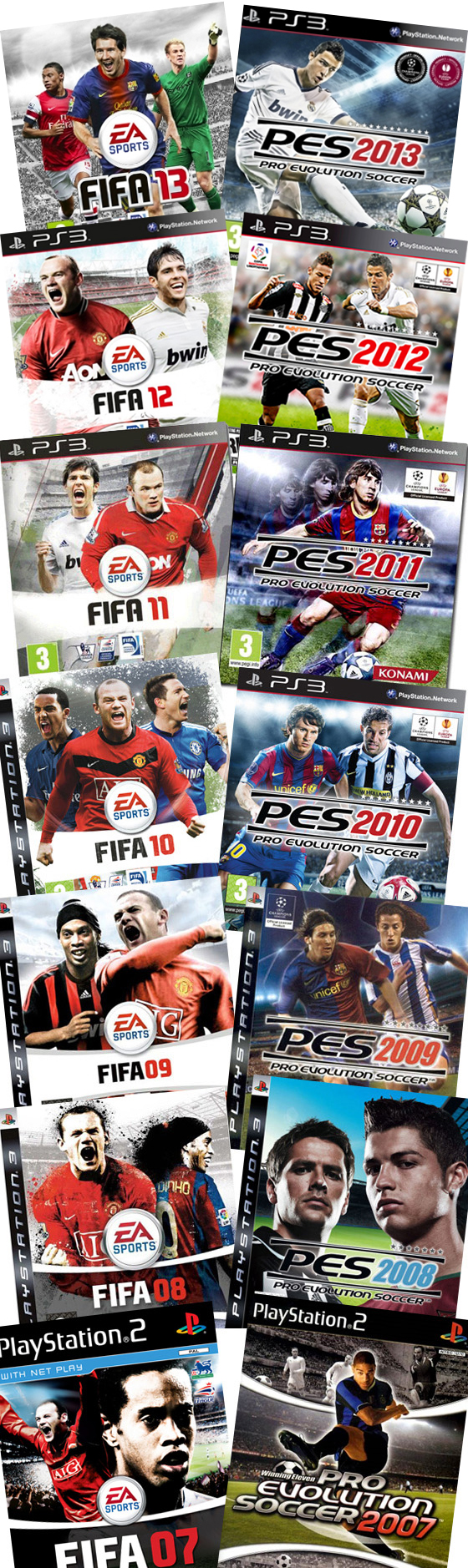 As capas dos games Fifa e Pro Evolution Soccer de 2003 a 2013