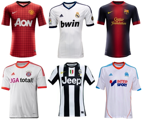 Uniformes da temporada 2012/2013 de Manchester United, Real Madrid, Barcelona, Bayern de Munique, Juventus e Olympique de Marselha