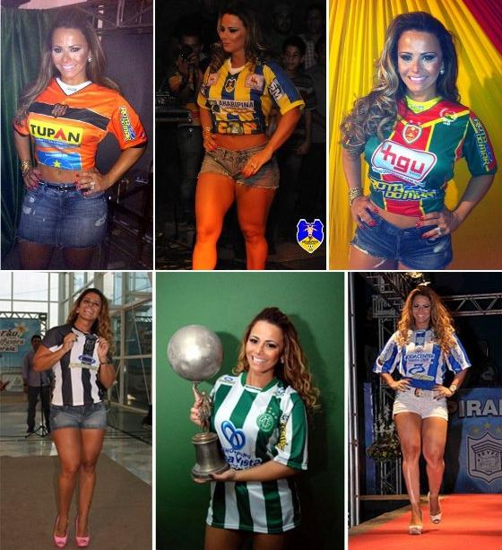 Viviane Araújo com os uniformes de Serra Talhada, Araripina e Petrolina (em cima); Central, América e Ypiranga (embaixo)