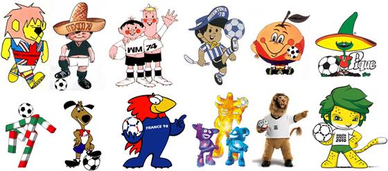 Mascotes oficiais da Copa do Mundo da Fifa: Willie (Inglaterra), Juanito (México), Tip e Tap (Alemanha), Gauchito (Argentina), Naranjito (Espanha) e Pique (México); Ciao (Itália), Striker (EUA), Footix (França), Ato, Kaz e Nik (Coreia do Sul e Japão), Goleo (Alemanha) e Zakumi (África do Sul).