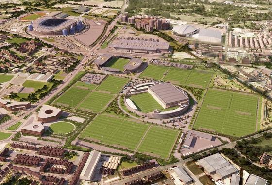 Projeto do novo centro de treinamento do Manchester City. Crédito: Manchester City/divulgação