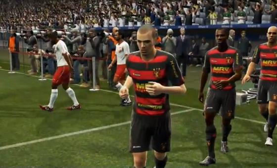 Sport x Náutico no Pro Evolution Soccer 2013. Crédito: Youtube/reprodução