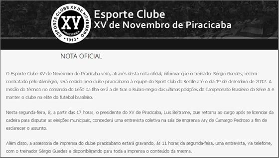 Nova oficial do XV de Piracicaba/SP emprestando o técnico ao Sport