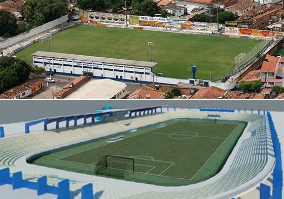 Estádio Zinho Oliveira, em Marabá, e o projeto do estádio Olímpico, na mesma cidade