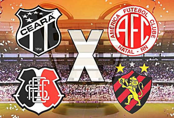 Copa do Nordeste 2014, semifinais: Ceará x América-RN e Santa Cruz x Sport. Crédito: arte sobre imagem do Esporte Interativo