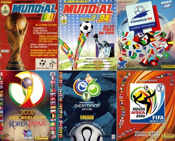 ÁlbuNS de figurinhas da Copa DE 1990 a 2010. Crédito: Panini/divulgação
