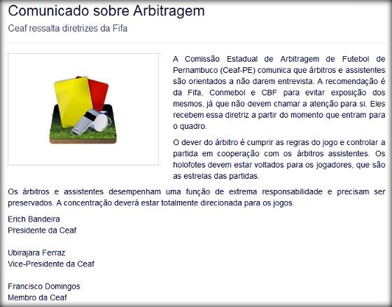 Comunicado da FPF sobre a arbitragem no Estadual de 2014. Crédito: Site Oficial da FPF