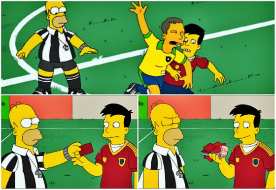 O árbitro Homer no episódio do desenho animado Os Simpsons, em 2014. Crédito: reprodução