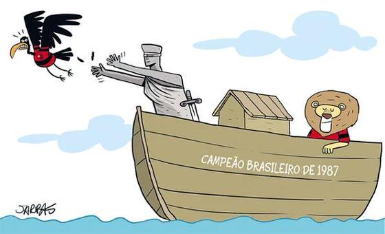 Charge sobre o fim do julgamento no STJ, garantindo a exclusividade do título brasileiro de 1987 ao Sport. Art: Jarbas Domingos/DP/D.A Press
