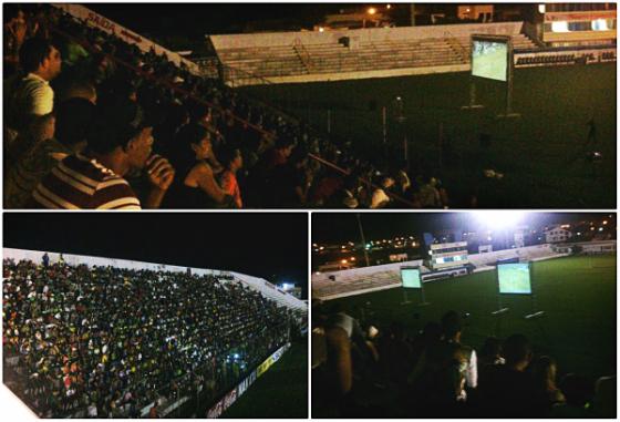Telão no estádio Cornélio de Barros, com a torcida acompanhando Náutico x Salgueiro, na Arena Pernambuco, em 2014. Crédito: twitter.com/VamosSalgueiros (divulgação)