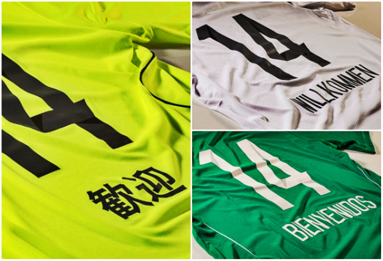 Camisas especiais do Sport homenageando as seleções do México, da Alemanha e do Japão em 2014. Fotos: Adidas/divulgação