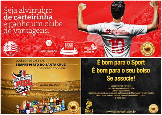 Campanhas de sócios de Náutico, Santa e Sport em 2014, junto à Ambev