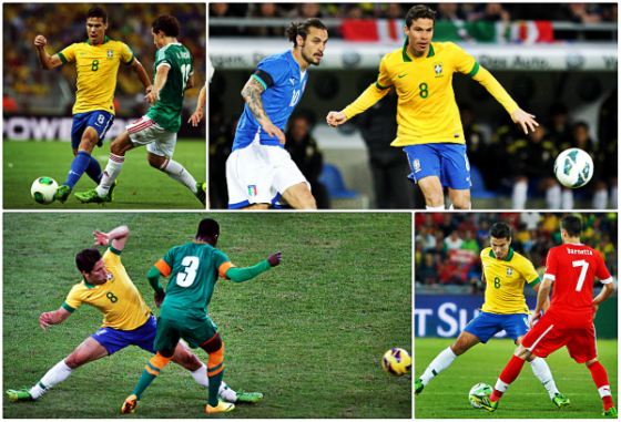 Hernanes em ação pela Seleção Brasileira em 2013, contra México (2x0), Itália (2x2), Zâmbia (2x0) e Suíça (0x1). Fotos: Jefferson Bernardes/Vipcom (México), Wander Roberto/Vipcom (Itália), Rafael Ribeiro/CBF (Zâmbia e Suíça)