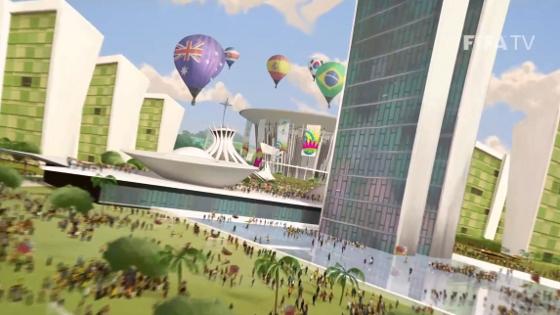 Estádio Mané Garrincha (Brasília) na abertura oficial da Copa do Mundo de 2014. Crédito: Fifa/youtube